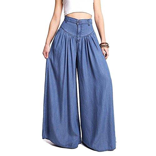 lunghe Pantaloni vita a estivi alta Pantaloni morbidi larghi e Azzurro oversize tasche donna traspiranti casual da con Oqqn7XwRIP