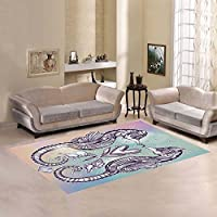 Custom Heart and Nautical Romantic Seahorse Area Rugs Carpet 7 x 5 Feet, Marine Art Modern Carpet Floor Rugs Mat for Children Kids Home Dining Room Playroom Decoration