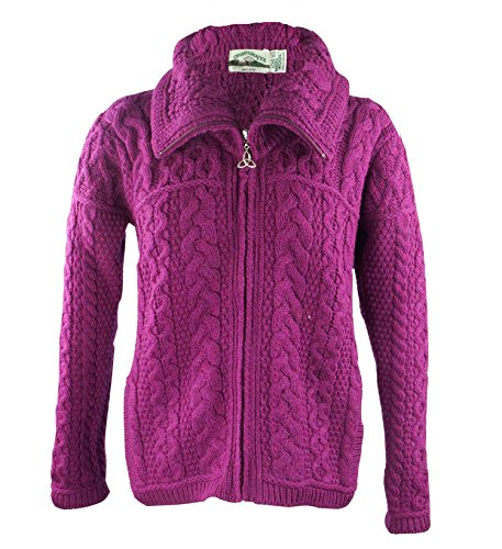 Irish Merino Wool Double Collar Zipper Aran Sweater, Raspberry (Merino Cardigan Sweater)
