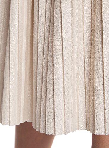 Lurex Plisse oodji Beige Fil 4b00x Femme Jupe Midi Ultra de OPU4R