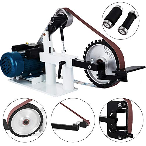 Happybuy 2Hp Belt Grinder Constant Speed 2 X 82inch Belt Disc Sander with 3 Grinding Wheel Bench Sander 12inch Wheel and Flat Platen Tool Rest for Knife Making