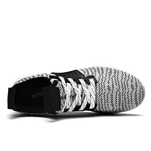 Para hombre zapatillas gimnasio Walking zapatillas Fitness deportes de ligero zapatillas de running Black/White-2