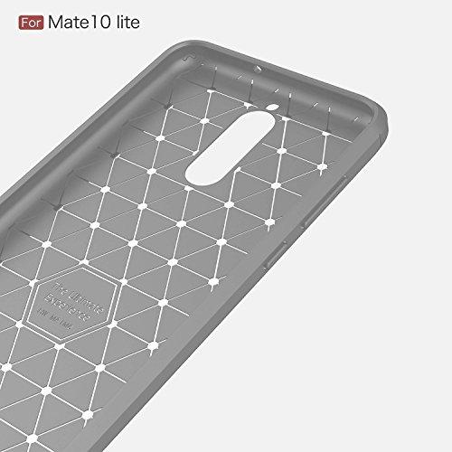 Funda Huawei Mate 10 Lite,Carcasas Huawei Mate 10 Lite Gel TPU Silicona Flexible Fibra De Carbono Ultra Delgado Ligero Goma Case Cover Caja Suave Gel Shock Absorción Anti Rasguños Anti Choque Bumper P Gris