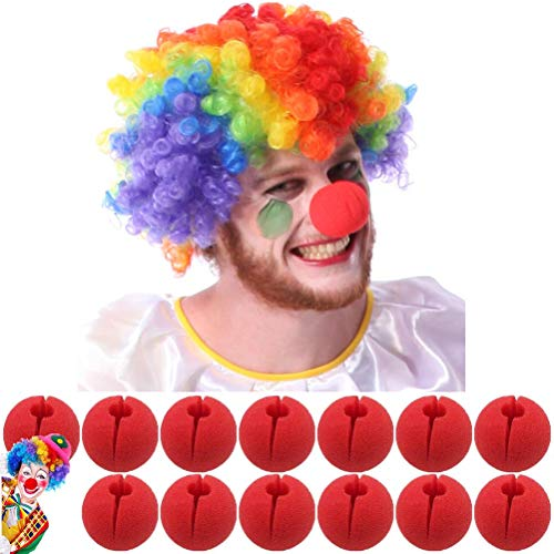 SUSHAFEN Rainbow Clown Wig with 12Pcs Red Foam Clown Nose Crazy Wigs Circus Comic Nose Mask Party Supplies for Halloween Trick Party Cosplay Costume Magic Dress Party Supplies]()