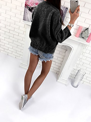 Color Larga Cuello Chaquetas Abrigos De Sólido Otoño De Cárdigans Redondo Outerwear Negro Elegantes Invierno Jerséis Punto Casual Anchas Mujer Manga Frente Abierto Rebecas Moda W7Zn1X