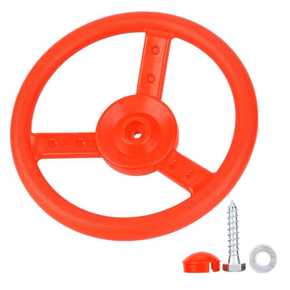Alomejor Plastic Steering Wheel Children's Game Small Steering Wheel Ideal for Kids Children Climbing Frame Tree House Play House (Red) by Alomejor