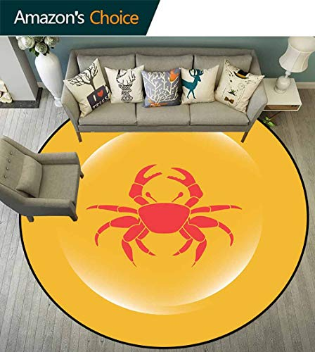 - Crabs Round Rug with Fringe,Crab Icon in an Abstract Bubble on Yellow Background Seafood Theme Environmental Protection Fabric,Marigold Dark Coral White,D-59