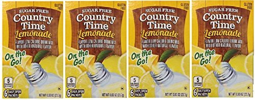 (Country Time Lemonade Sugar Free On the Go! 6 Packets Powder (pack of 4) Gluten Free)