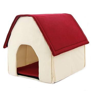 QNMM Cama para Perros Cama para Cachorro Soft Dog House Pequeña Casa para Mascotas con Patas Planas para Perros Red Puppy Cama Blanda: Amazon.es: Productos ...