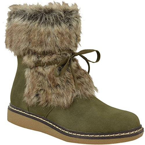 [Fashion Thirsty Womens Flat Low Wedge Faux Fur Winter Ankle Boots Warm Size 9] (Furry Boots Cheap)