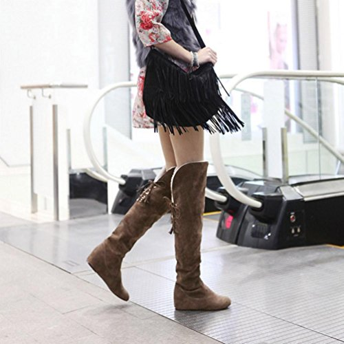 Boots Boots Plush Winter Lace Thigh Autumn Comfortable High Women's up erthome Brown Warm xqZBtXWP