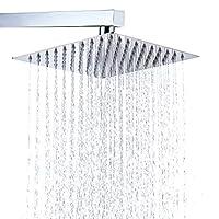 Cabezal de ducha de acero inoxidable BWE: cabezal de ducha estilo lluvia, efecto cascada, diseño elegante, cromo de alto brillo, 8 pulgadas de diámetro, ultra delgado, cinta de teflón incluida