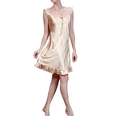 Damen Nachtwäsche Satin Nachtkleid Elegant Dessous mit Spitze V ...