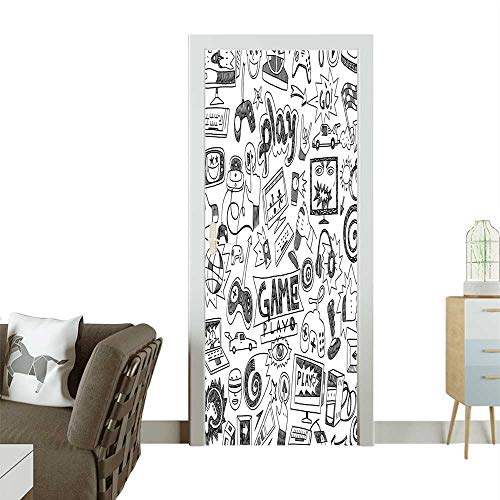 Door Sticker White Sketch Style Gam Rac itor Device Gadget Teen 90s Blak Removable Door Decal for Home DecorW38.5 x H77 -