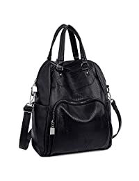 UTO Women Backpack Purse PU Washed Leather Convertible Ladies Rucksack Crossbody Shoulder Bag