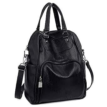 UTO Women Backpack Purse PU Washed Leather Convertible Ladies Rucksack Crossbody Shoulder Bag Black