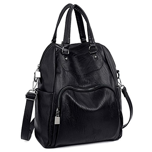 Leather Backpack Bag Handbag Purse (UTO Women Backpack Purse PU Washed Leather Convertible Ladies Rucksack Crossbody Shoulder Bag Black)