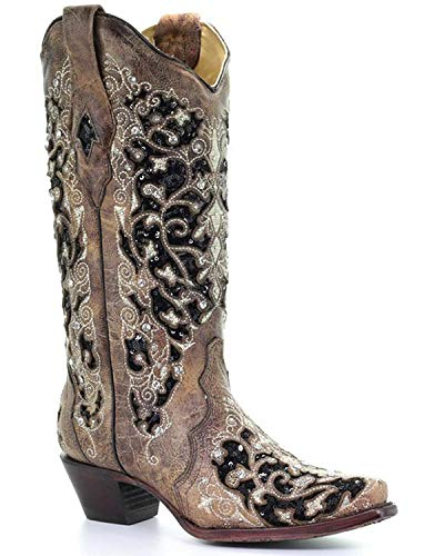 Boot Brown Snip Western Embroidered Floral A3569 Toe Women's CORRAL wCvqIPBx