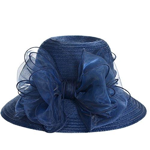Fanny Cloche Oaks Church Dress Bowler Derby Wedding Hat Party S015 (Bow-Navy)