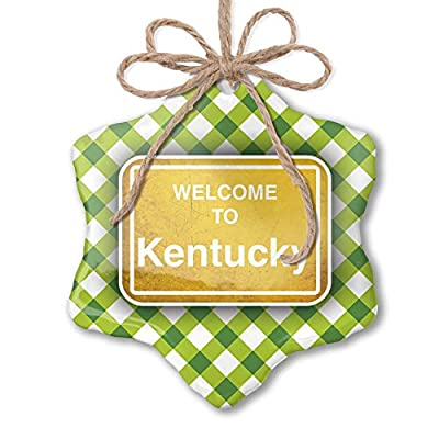 NEONBLOND Christmas Ornament Yellow Road Sign Welcome to Kentucky Green Plaid