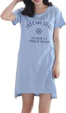Camisa De Dormir De Manga Corta para Pijamas Mujeres Casuales De Pijama De Manga Corta para Mujer Vestido De Noche Estampado Camisón Informal: Amazon.es: Ropa y accesorios