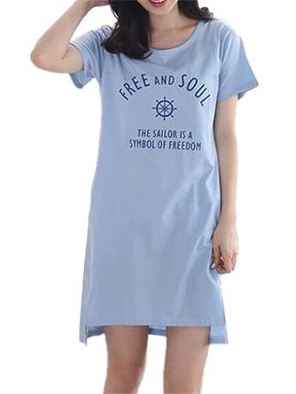 Camisa de Dormir para Mujer Ropa de Dormir Manga Corta Camis/ón