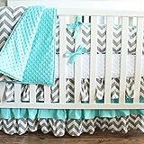 Gray Aqua Chevron Crib Baby Bedding-3 Tiered Crib Skirt