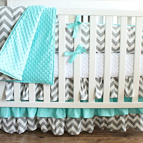 Gray Aqua Chevron Crib Baby Bedding-3 Tiered Crib Skirt by Baby Milan