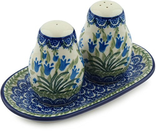 Polish Pottery Salt and Pepper Set Feathery Bluebells made by Ceramika Artystyczna