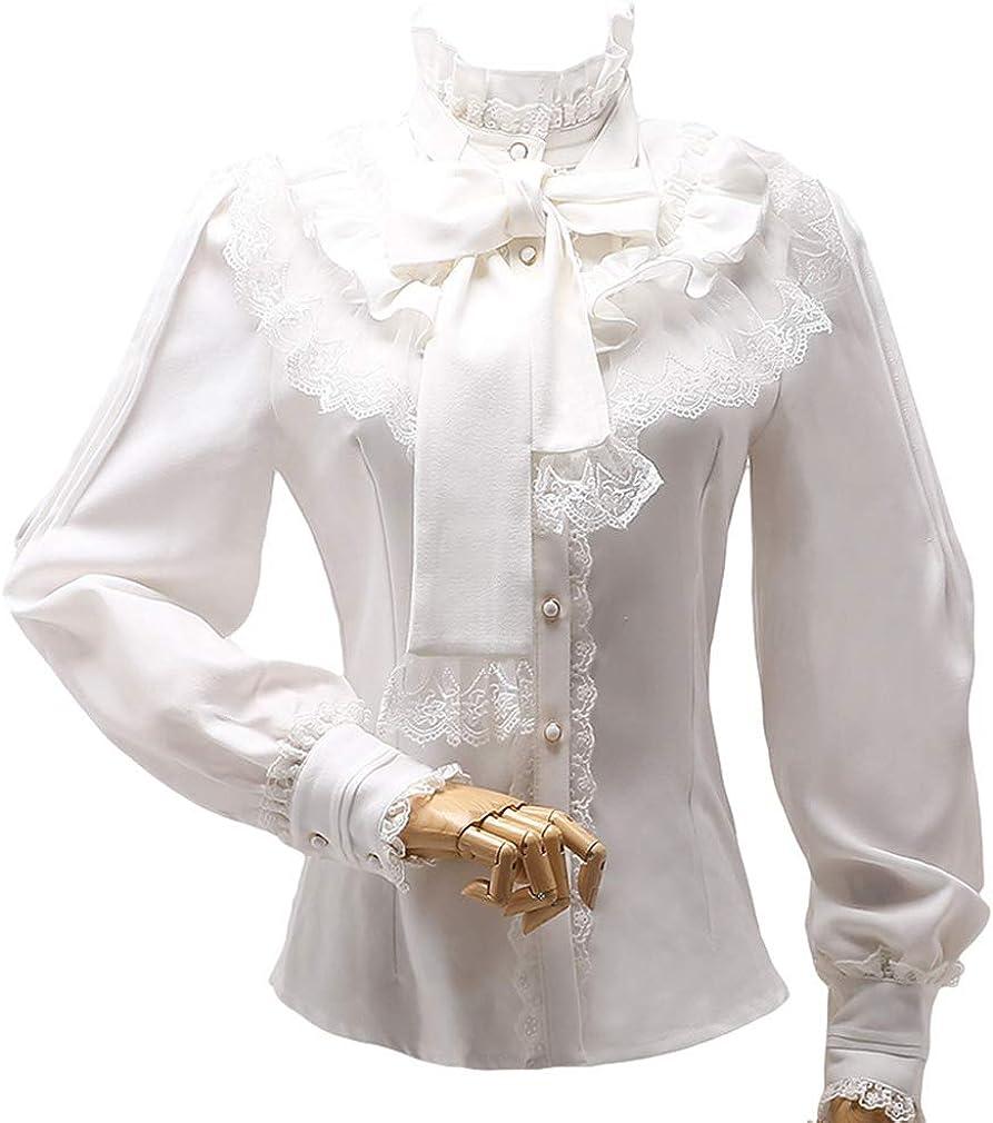 Lolita Blusa Mujer - Victoriana Plisada con Volados Manga Larga Gasa Arco Camisa Blusa Retro Collar de Pie Blusa S-2XL: Amazon.es: Ropa y accesorios