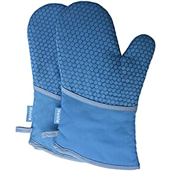 Honla Kitchen Oven Mitts with Non Slip Silicone Printed,1 Pair of Heat Resistant Oven Gloves for Cooking,Baking,Grilling,Barbecue Potholders,Blue