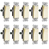 Enerlites Decorator On/Off Paddle Wall Switch 91150-LA | 15 Amp, 120V/277V, AC, Single Pole, 3 Wire, Grounding Screw, Residential and Commercial Graded Light Switch, UL Listed | Light Almond - 10 Pack