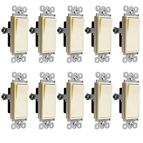 Decora Grounding Switch - Enerlites Decorator On/Off Paddle Wall Switch 91150-LA | 15 Amp, 120V/277V, AC, Single Pole, 3 Wire, Grounding Screw, Residential and Commercial Graded Light Switch, UL Listed | Light Almond - 10 Pack