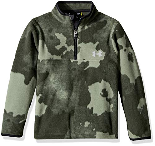 (Under Armour Boys' Little Quarter Zip Pull Over Jacket, Moss Green camo, 6)