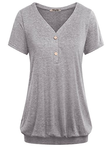 Tees for Women,Hibelle Ladies Tops Henley V Neck Short Sleeve Fit and Flare Casual Knitted T Shirt Tunic Blouse for Work Office Wear Medium Grey