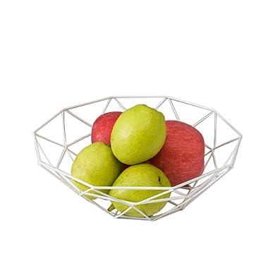 Fashion Creative Large Iron Mesh Woven Fruit Basket Fruit Bowl Office Home Table Art Disply Tray Holder Stand Serving Metal Banana Orange Storage Container Bread Basket SnacksRack (White)