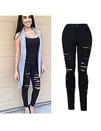 Billila Women Denim Skinny Ripped Pant High Waist Stretch Jeans Slim Pencil Trousers