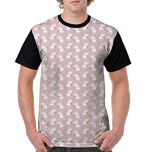 (HenSLK Men Pug Angel Wings Novelty Casual Crew Neck Short Sleeve Raglan Baseball Tee Shirt)