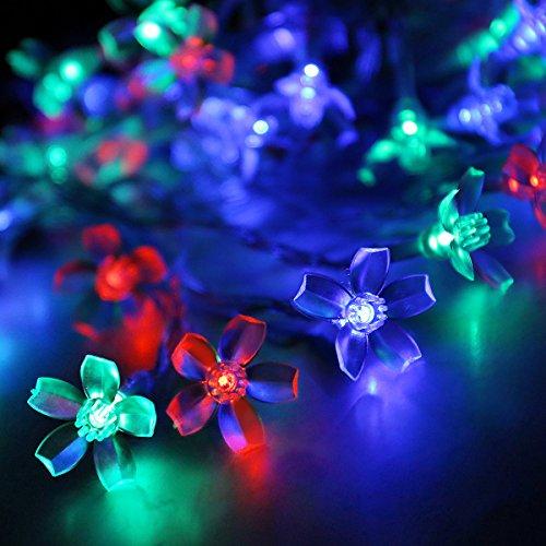 Price comparison product image HueLiv Outdoor Solar LED String Lights,  21ft 50LEDs Blossom Flower Fairy Lights (Colorful)