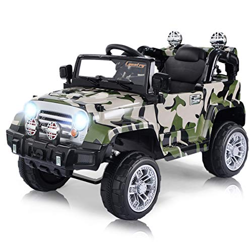 Costzon Ride On Jeep Car, 12V 2WD Powered Truck, Manual/ Parental Remote Control Modes Truck Vehicle with Headlights, MP3 Port, Music, Horn for Kids (Camouflage Jeep)