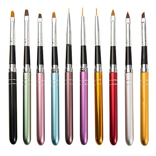ATWORTH 10 Pcs Nail Art Brushes Set Design,Dotting Drawing Painting Nail Beauty Tool Set UV Gel Polish Brush Pen Tools by ATWORTH