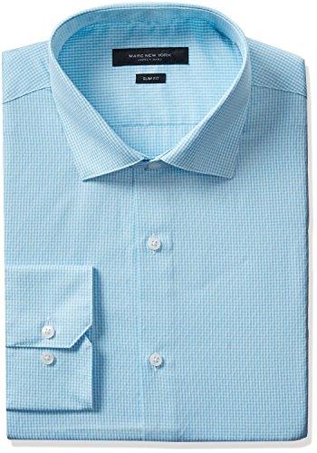 Marc New York Men's Slim Fit Diamond Dobby Gingham Dress Shirt, Seafoam, 17-17.5 36/37 by Marc New York by Andrew Marc