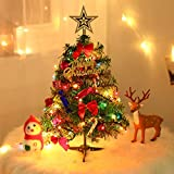 Happy Camp 50cm Christmas Tree with LED Light up Table Decoration Xmas Party Ornament for Home Office Tabletop Shop Window DIY Decor
