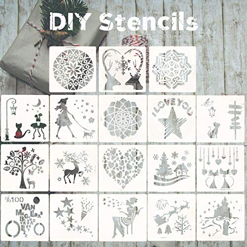 18 Pcs DIY Stencils for Painting, Reusable Plastic Craft for Art Drawing Painting, Mandala, Love, cat Spraying Window Glass Door Car Body Wood Journaling Scrapbook Holiday DIY