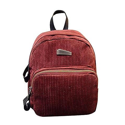 Outtop Corduroy Travel Backpack Daypack Rucksack School Shoulder Bags For Women Girls (Wine) - Corduroy Womens Shoulder Bag