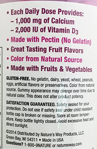 2-Pack Natures Way Alive! Calcium Gummies Plus Vitamin D3 - 60 Gummies Gluten Free and Vegetarian Friendly, 120 Calcium Gummies by Nature's Way (Image #3)