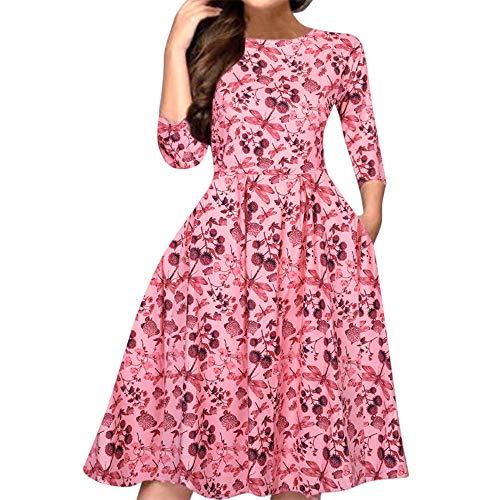 Xiarookp 2019 Fashion Floral Print Dress for Women Pink Round Neck Half Sleeve High Waist Mini Dress ()