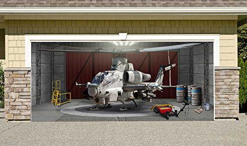 Cobra Helicopter Outdoor Decoration Military Army Aircraft Independence Day Home Garage Door Decor Banner Billboard 7' x 16'