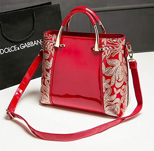 Women Bag Patent Zip Tote Fashion grade Himaleyaz Handbag Red Flower With Burgundy Shoulder Bag High Leather Sequin 8Xwfnqxt