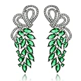 Aooaz Silver Plated Earrings Dangling For Women Cubic Zirconia Flower Leaves Silver Green 1.9X5.2Cm